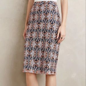 Anthropologie Blue Lace Pencil Skirt Size 0